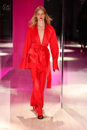 A model walks the runway during the Michael Lo Sordo show at Mercedes-Benz Fashion Week.