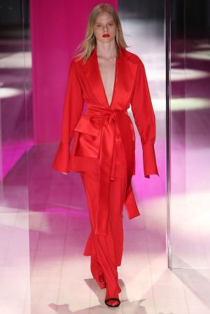A model walks the runway during the Michael Lo Sordo show at Mercedes-Benz Fashion Week.Jelonek/WireImage)