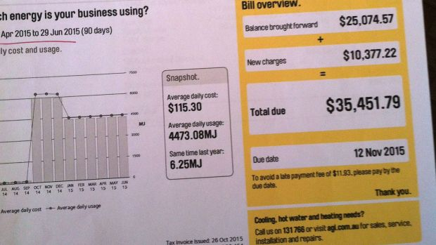 A gas bill from AGL received by Michael Heaney and Barbara Richards showing the massive increase.