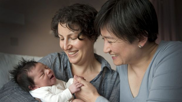 Penny Wong with partner Sophie Allouache and their daughter, Alexandra, in 2011.