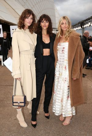 Montana Cox, Georgia Fowler and Elyse Taylor at the Dion Lee opening show of Mercedes-Benz Fashion Week Australia at the ...