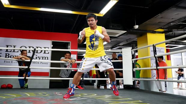 Wing commander: Manny Pacquiao trains at the Elorde boxing Gym on Wednesday.