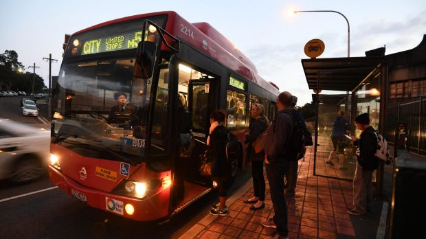 Traffic was heavy on the lead-up to the Anzac Bridge as commuters deal with a bus strike.