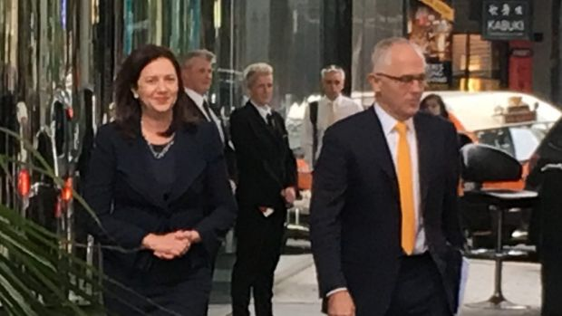 Queensland Premier Annastacia Palaszczuk and Prime Minister Malcolm Turnbull outside Waterfront Place, on Thursday.