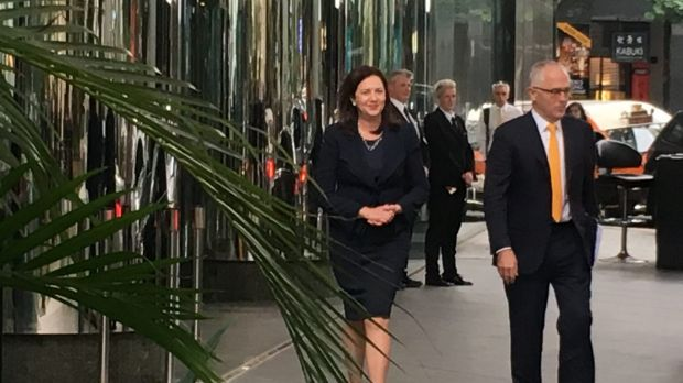 Queensland Premier Annastacia Palaszczuk and Prime Minister Malcolm Turnbull outside Waterfront Place in Brisbane.