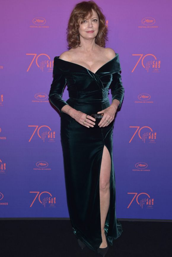 Susan Sarandon attends the Opening Gala dinner during the 70th annual Cannes Film Festival at Palais des Festivals.