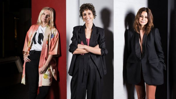 InStyle editor Laura Brown, designer/buyer Yasmin Sewell, and Vogue fashion editor Christine Centenera after speaking at ...