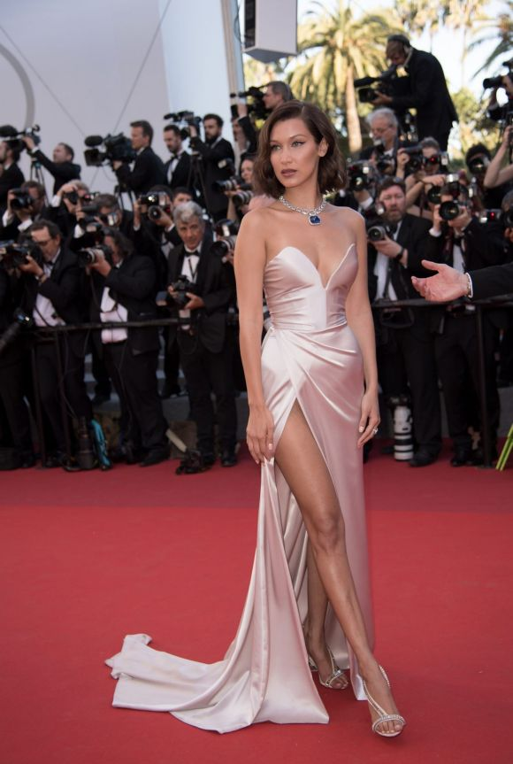 Bella Hadid arrives for the Opening Ceremony of the 70th annual Cannes Film Festival.