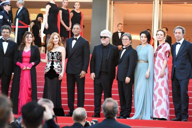 Jury members Gabriel Yared, Agnes Jaoui, Jessica Chastain and Will Smith, President of the Jury Pedro Almodovar and jury ...