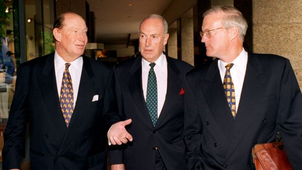 Kerry Packer (left), Bruce Gyngell (centre) and Brian Powers (right) leave the Publishing and Broadcasting Limited ...