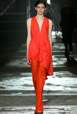 A model walks the runway during the KITX show at Mercedes-Benz Fashion Week.