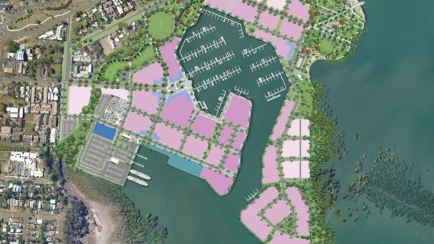 Plan for Cleveland's Toondah Harbour showing the original location of 3400 apartments and units proposed for the site. ...