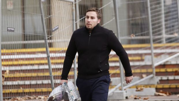 Adam Cranston leaves a police station on Thursday after being granted bail.