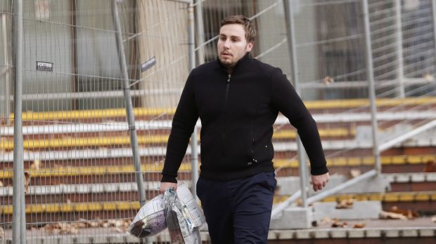 Adam Cranston leaves a police station last month after being granted bail.