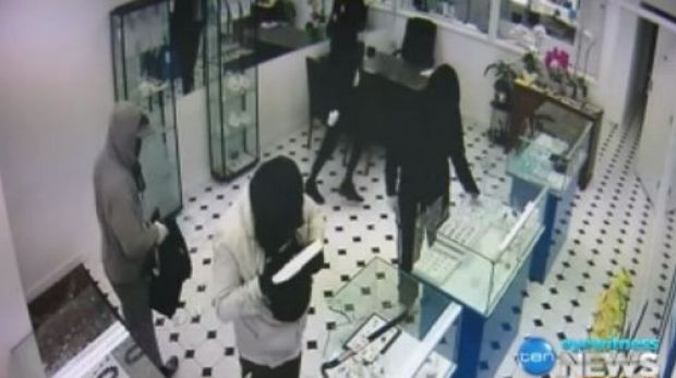 Footage of four men ransacking an East Malvern jewellers on Thursday.