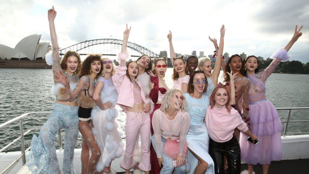 Models pose following the Dyspnea show at Mercedes-Benz Fashion Week Resort 18 Collections on May 18, 2017 in Sydney, ...