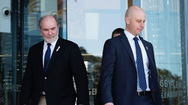 Separation of powers: Australian Rugby League Commission Chairman John Grant and NRL chief executive Todd Greenberg.