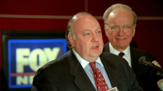 Roger Ailes and Rupert Murdoch in 1996 announcing Ailes as chairman and CEO of Fox News.