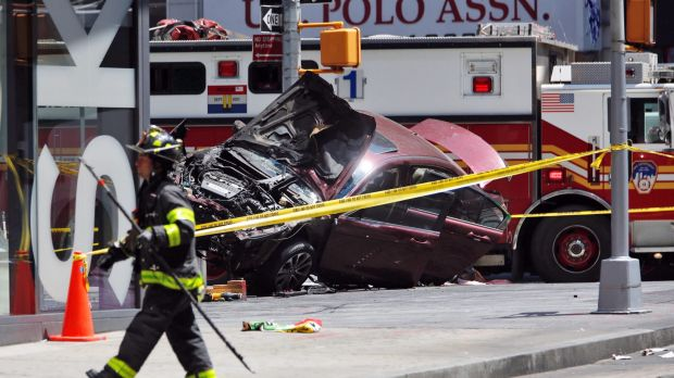 One person and 20 injured after a car ploughed through pedestrians in New York City's Times Square overnight.