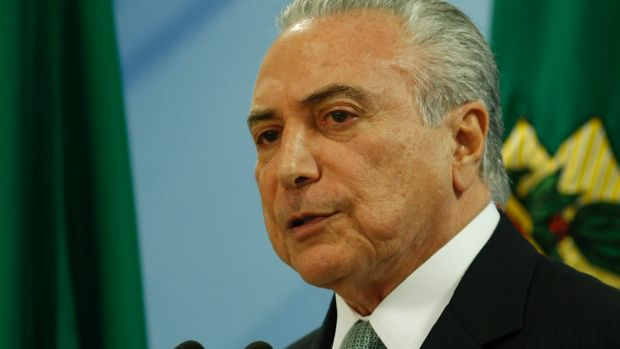 President Michel Temer delivers a statement following the release of a recording of him allegedly condoning bribery.