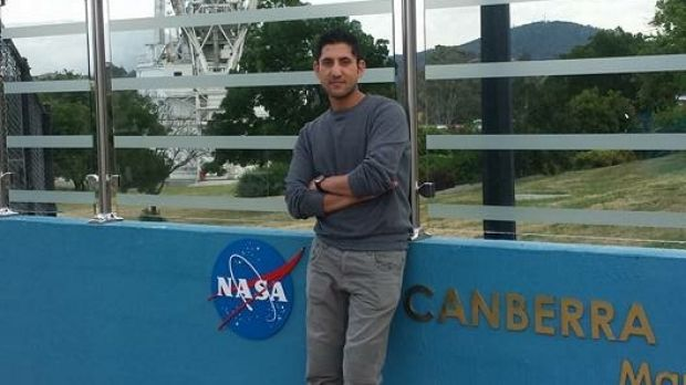 Akbar's father, uncle and best friend visited the Canberra Deep Space Communication Complex to record part of the ...