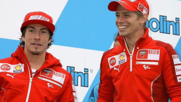 Nicky Hayden and Casey Stoner, pictured in Japan in 2009.