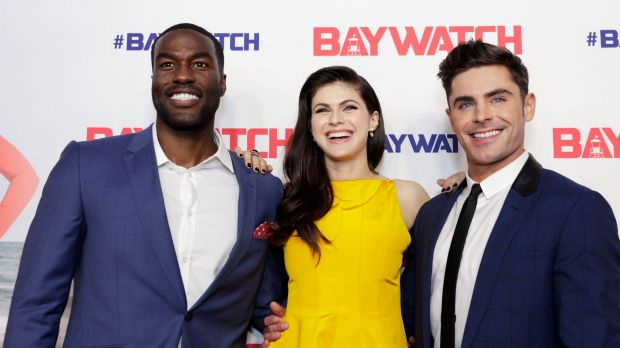 Alexandra Daddario and Zac Efron with Baywatch co-star Yahya Abdul-Mateen at the Sydney premiere on May 18.