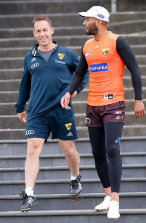 """Right steps: Alistair Clarkson, with Josh Gibson at training today, says he's """"all about equity"""" for clubs."""