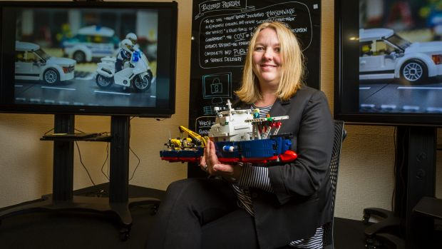 National manager of cyber security at DHS Narelle Devine with a Lego model to be used in cyber war games this year.