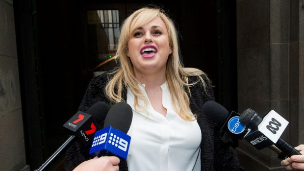 Rebel Wilson speaks to the media outside court last week.