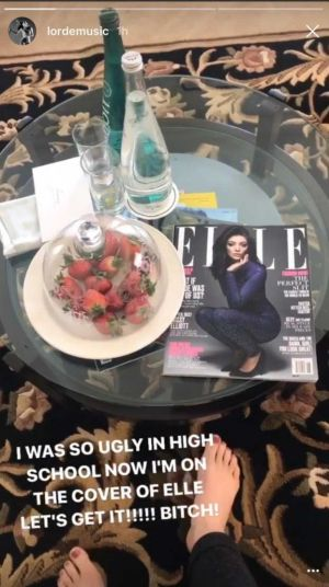 Lorde celebrating her Elle cover.