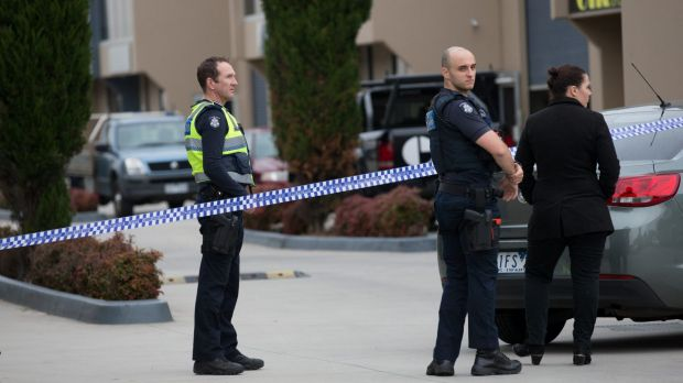 Police at a factory in Braeside where a body was found on Friday