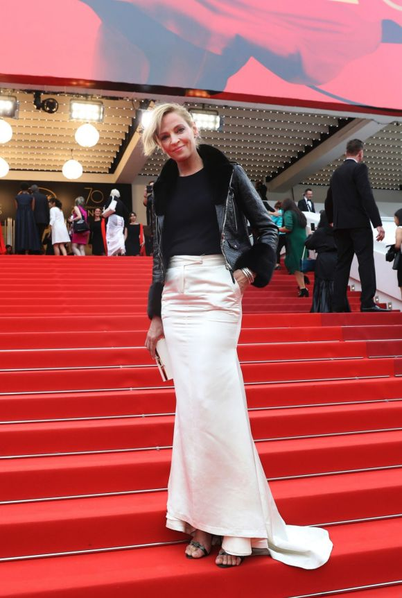 Jury member Uma Thurman poses for photographers upon arrival at the screening of the film Loveless.