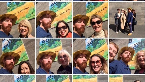 Vincent Van Gogh lookalike and artist Matt Butterworth manning his selfie stall outside the National Gallery of Victoria.