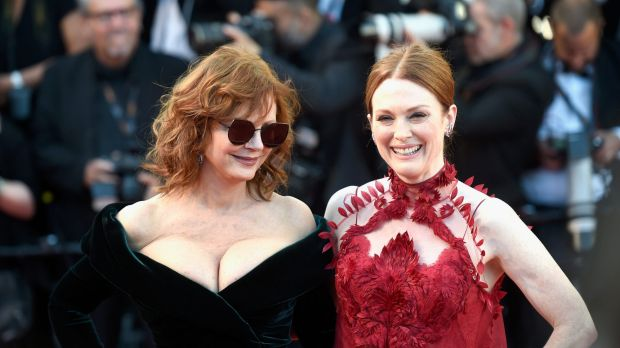 Actresses Susan Sarandon and Julianne Moore at the Opening Gala of the 70th annual Cannes Film Festival.