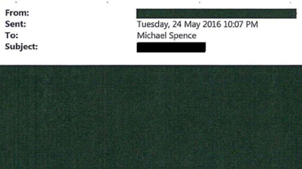 A redacted email sent to vice-chancellor Michael Spence.