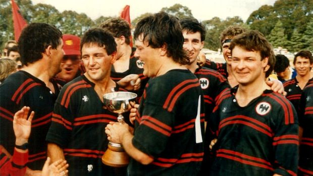 Gungahlin Eagles Peter O'Neill and Leigh Donnellan after the 1986 grand final.