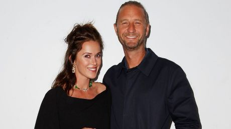 Kate Fowler and Justin Hemmes  at Sydney Fashion Week in May.