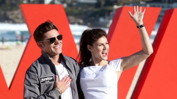 Zac Efron and Alexandra Daddario on Bondi Beach while visiting Australia this week.