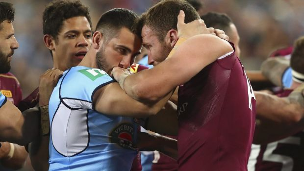This is serious: Jack Bird and Gavin Cooper clash during game three last year.