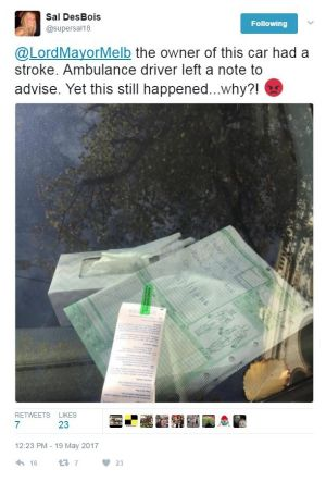 Sally DesBois tweeted to the Melbourne Lord Mayor after a ticket inspectors fined a man for leaving his car in Carlton ...