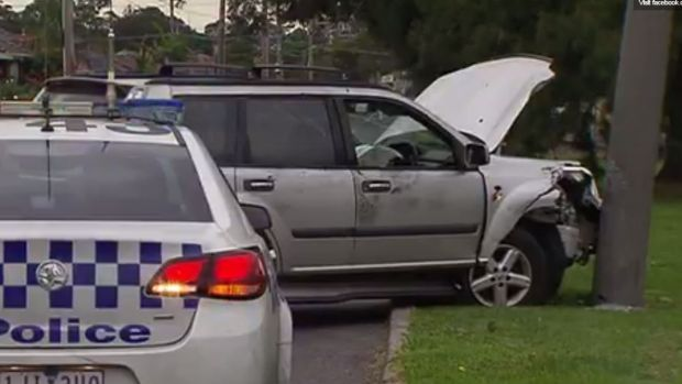 The stolen car, after it crashed into a pole on Hughes Parade in Reservoir.