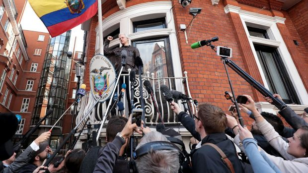 Julian Assange tells the media the battle has only just begun.