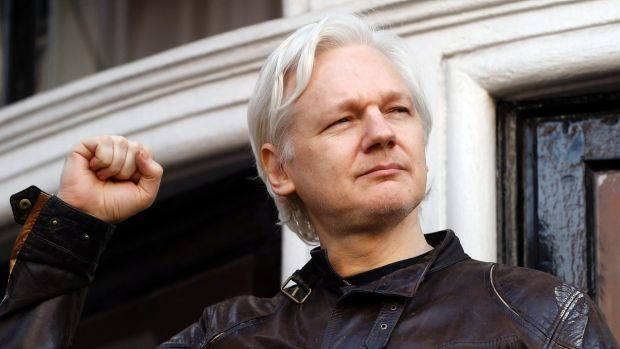 Julian Assange on the balcony of the Ecuadorian Embassy in London.