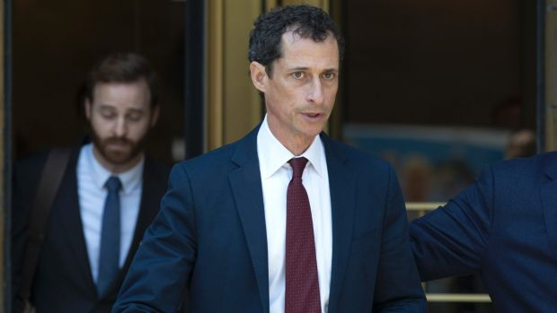 Anthony Weiner leaves Federal court after pleading guilty.