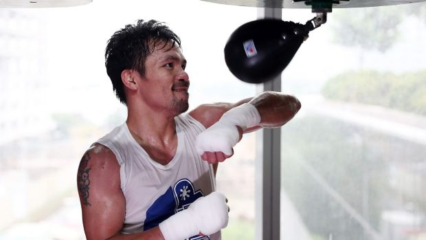 The man, the legend: Manny Pacquiao trains in preparation for his bout against Jeff Horn.