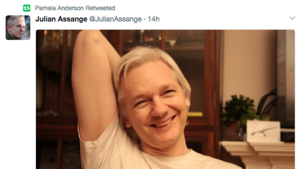 Pamela Anderson retweeted this picture of a smiling Julian Assange.