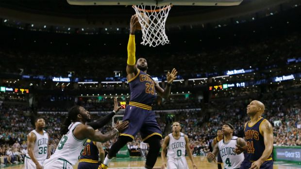 Unstoppable: LeBron James led the Cavaliers to a big victory over the Celtics.