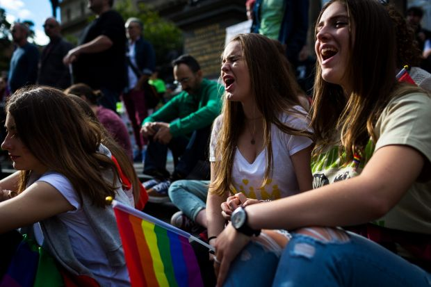 Saskia Mulder and Jazmine Spark were seen showing their support for equal marriage rights.