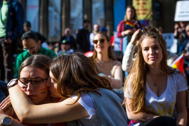 Rachael Molloy and Belle Way were seen in support of each other during an Equal Love marriage equality rally in ...